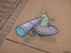 Забавные рисунки Дэвида Зинна (David Zinn) на улицах городов