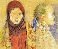 The Athenaeum - Two Girls (Stanislaw Wyspianski - ) Art For Kids, Design, Painter, Illustration, One Thousand, Image, Painting, Art, Portrait