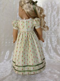 RESERVED Green striped Regency dress for by DollSizeDesigns