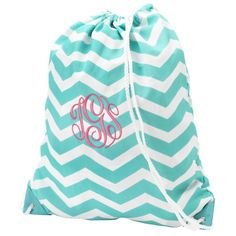 Monogrammed Drawstring Gym Bag - Aqua Chevron ($23.95)