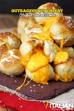 Outrageously cheesy stuffed pretzel bombs