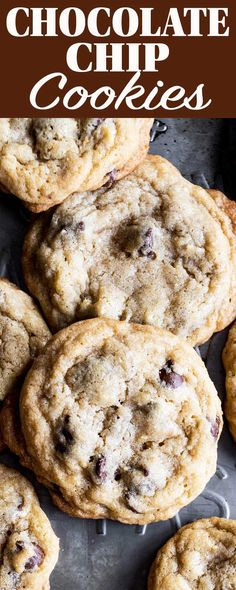 These Chocolate Chip Cookies have a secret ingredient that I bet you can't guess. The cookies are wonderfully sweet with a chewy texture with crispy edges. Galletas Cookies, No Bake Cookies, Cookies Et Biscuits, Lace Cookies, Yummy Cookies, Sugar Cookies, Homemade Chocolate Chip Cookies, Chocolate Peanut Butter, Chocolate Cake