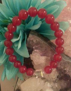 Red Jade Gemstone Bracelet with Swarovski Crystals – Evolve Jewelry Design www.evolvejewelrydesign.net www.facebook.com/evolvejewelrydesign1