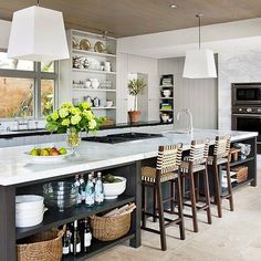These days, a kitchen island with seating has become the necessary feature for one kitchen. Beside the function components, a beautiful kitchen island with seating… Kitchen Interior, Long Kitchen, Kitchen Decor, New Kitchen, Kitchen With Long Island, Kitchen Island With Seating, Kitchen Island Design, Home Kitchens, Kitchen Design