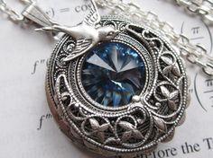 House Arryn - Swarovski Locket - Locket Necklace - Fantasy Necklace - Silver Locket  - Art nouveau necklace - Game of Thrones Jewelry