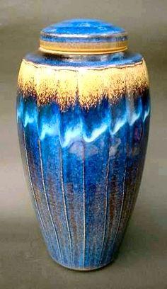 Stoneware Fluted Liddied Jar,  Peter Sparrey.