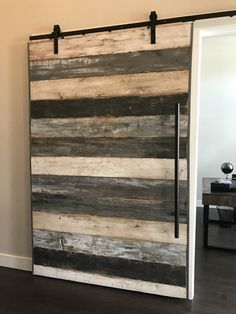 Sliding barn door oversized Talk about a show-stopping conversation piece! An oversized sliding barn door makes a huge statement in any space. Door is custom built to your size and color specifications. This door was hand-crafted from reclaimed cedar wood Barn Door In House, Barn Door Closet, Diy Barn Door, Loft Door, House Front, The Doors, Wood Doors, Front Doors, Entrance Doors