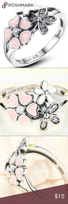 🌸Gorgeous Clustered Flower Ring🌸 Brand new, Sz 7, .925 silver w/ cluster of pink & white ceramic flowers on the top. Beautiful ring & getting tons of interest so hurry & stake your claim on this baby today!! Jewelry Rings