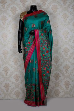3Peacock #blue pure #tussar silk gorgeous #saree with thread work -SR13690
