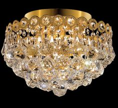 Century Collection 12″ Dia Small Crystal Flush Mount Ceiling Light