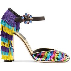 Dolce & Gabbana's Mary Jane pumps play with color and texture contrasts. Crafted from leather, this pair has a rainbow-sequined toe cap and tiers of fringing a…