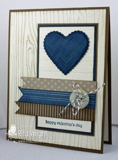 QFTD146 with SR157 by kyann22 - Cards and Paper Crafts at Splitcoaststampers; teeny tiny wishes; very vanilla, soft suede, not quite navy cardstocks, scraps, crumb cake, not quite navy inks; woodgrain, stripes and chevron efs, sponges, heart embosslit, neutrals buttons, early espresso baker's twine