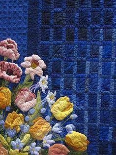 Paula Reid - Machine Quilter: May 2010 Amazing! Appliqué Quilts, Blue Quilts, Longarm Quilting, Quilting Projects, Paula Reid, Rug Hooking Designs, Quilt Pictures, Flower Quilts, Landscape Quilts