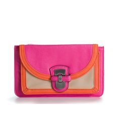 Jessica Simpson Libby Foldover Clutch - Pink/Orange/Tan ($40) ❤ liked on Polyvore