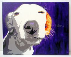 Cheeky Dog Painting - Pop Art Acrylic Painting on Canvas by Artist Suzie Nichols (pop art close up dog bright colours modern jack russell) - pinned by pin4etsy.com