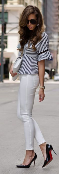 Teenage Fashion Blog: Striped Peplum Top with White Pant and Black Heels...