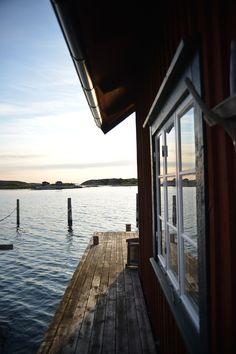 "Beautiful. Summer. Dream. ""Sjöbod"". House. Sea. Water. Wharf. Swedish. Coast. Boats. Red & White. Wooden. Light. Archipelago."