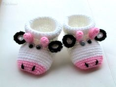 Baby Booties Free shipping Crochet Cute Cow Baby by pastelmavj, $19.99