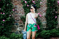 Summer outfit...Green Shorts//Pink Flowers on www.thebobbedbrunette.com