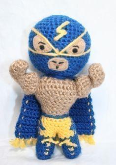 Crochet Pattern- El Rayo Azul Luchador/Mexican Wrestler/Superhero Amigurumi. $5.00, via Etsy.