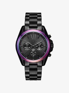 Michael Kors Bradshaw Black-Tone And Iridescent Watch #watches #womens