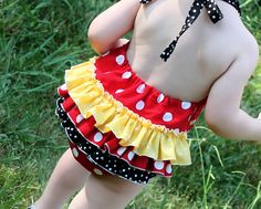 Vintage Inspired Mickey Mouse Romper... with the Ruffle Butt!  I am a sucker for a ruffled butt.