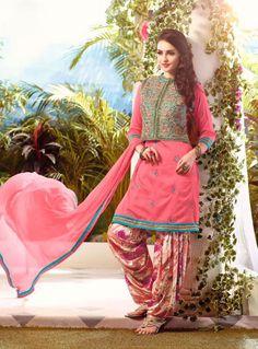 Peach Cotton Punjabi Suit With Jacket 80806