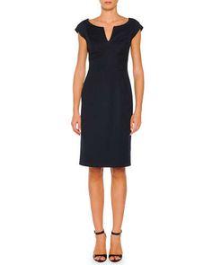 B2WUL Piazza Sempione Cap-Sleeve Sheath Dress, Navy