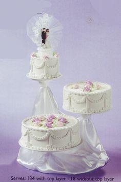3 tier wedding cake with satin