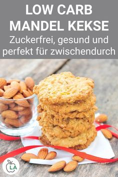 Low Carb Mandel Kekse – Leckere Plätzchen zum Abnehmen These low carb biscuits with almonds are healthy, quick to make and perfect for a diet. Here you will find the complete cookie recipe for losing weight and many helpful tips for a healthy diet. Almond Cookies, Yummy Cookies, Sugar Cookies, Cookies Et Biscuits, Making Cookies, Making Macarons, Healthy Low Carb Recipes, Healthy Snacks, Breakfast Healthy