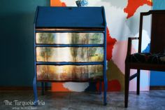 """This piece was amazing to start with but it needed to be given a new look. I painted in this gorgeous color called Artistic Blue. I added the scene titled, """"Summer Solstice"""", to the drawer f Upscale Furniture, Cheap Furniture Online, White Furniture, Upcycled Furniture, Furniture Projects, Furniture Makeover, Painted Furniture, Diy Furniture, Gothic Furniture"""