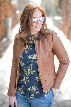 Michael Kors leather jacket and Equipment floral blouse.