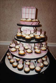 Victoria's Secret themed Sweet 16 cupcake tower Sweet 16 Cupcakes, Victoria's Secret, Tower, Entertaining, Desserts, Food, Tailgate Desserts, Rook, Deserts
