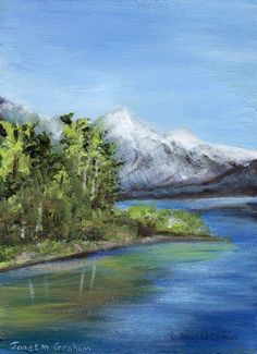 Snow Capped Mountain ACEO River Trees Original Landscape ACEO acrylic  painting