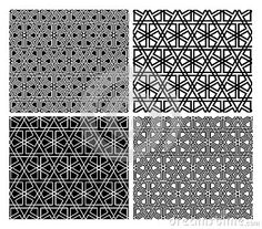 Seamless Islamic geometric mosaic patterns, four versions.