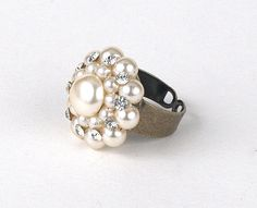 Upcycled Vintage Cream Faux Pearl and Rhinestone Ring #etsy #dteam