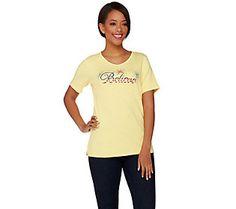 Quacker Factory Americana Believe Short Sleeve T-shirt