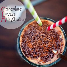 Chocolate Lover's Milkshake : FamilyFreshCooking.com ©Marla Meridith Photography  Skinny vegan chocolate milk shake recipe with cocoa powder, coconut milk, almond, sprinkles, dates, Breakfast, fitness, dessert smoothie, low glycemic, Paleo