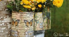 Tin Cans and Texas Sky - Knick of Time... I love the idea of using napkins like this... so easy... gotta remember this one.