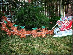Life Size Weenie Dog Reindeer Sleigh Christmas Yard Art Set Dachshund Santa Art