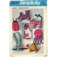 Pocket Pets! Vintage ©1969 Simplicity Iron-On Transfer Pattern 831, Stuffed Toys: Train, Octopus, Rabbit, Ladybug, Turtle & Cat; NOS by karl79 on Etsy