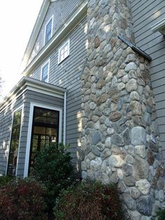 Boston Blend Round Thin Veneer Was Used As Stone Siding, Foundation  Covering, And On A Chimney.