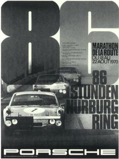 For many years Porsche published Posters of their wins at all kinds of motorsport events. This one shows the VW-Porsche that achieved a triple victory at the 86 Hour (! Porsche Panamera, Porsche 918 Spyder, Porsche Cars, Porsche Classic, Marathon, Porsche Carrera, Vintage Racing, Vintage Cars, Le Mans