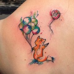 watercolour fox with baloons