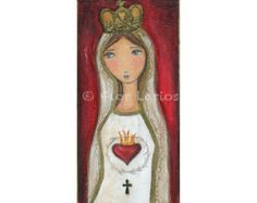 La Virgen de Fatima - Madonna Virgin Mary Print from Painting by FLOR LARIOS (5 x 10 INCHES)