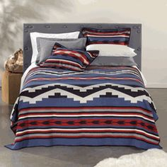 so fun but would mix and match pillows Western Bedding, Rustic Bedding, Navajo Print, Rustic Western Decor, Navajo Rugs, Comforters, Room Decor, Blanket, Pillows