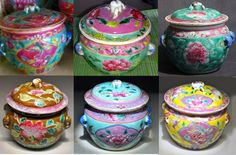 "Straits-chinese ""KumChing"" soup bowls use for ceremonies & special occasions . They loved colours and auspicious designs, and were made specially in China for the Peranakan Community."