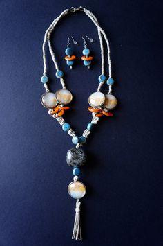 Parure collier lin aquarelle et céramique  par oliviaquarelle