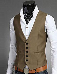 ... Solid Colored Fantastic Beasts Sleeveless Polyester Black   Brown    Navy Blue XL   XXL   XXXL   Business Formal   Slim. Gilet Sans Manche HommeBlazer  ... af58133d080