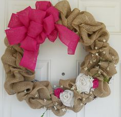 Pink Burlap Wreath for Spring